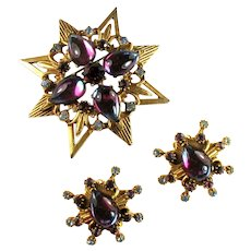 Florenza Givre Sabrina Pear Cabochon Green Purple Rhinestone Brooch and Earrings