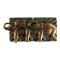 Vintage Textured Bronze Colored Three Elephant Brooch