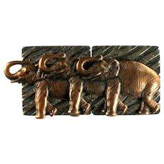 Vintage Textured Bronze Colored Three Elephant Brooch