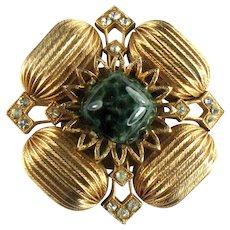 Coro Dark Green Marbled Cabochon Textured Barrel Bead Crystal Rhinestone Vintage Brooch