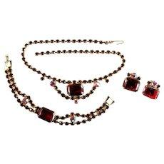 Vintage Siam Red Rhinestone Goldtone Necklace Bracelet and Earrings Parure