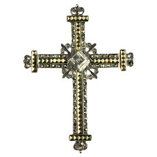Sterling Silver Marcasite Arum Rhinestone Budded Cross Brooch Pendant