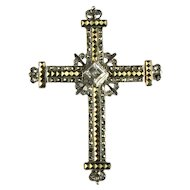 Sterling Silver Marcasite Arum Rhinestone Budded Cross Brooch Pendant