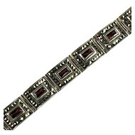 Sterling Silver Marcasite Comet Argent Rhinestone Red Stone Thailand Bracelet