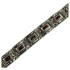 Sterling Silver Marcasite Comet Argent Rhinestone Red Stone Thailand Bracelet