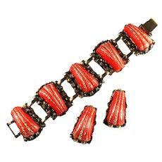 Selro Red Orange Shell Design Goldtone Glitter Vintage Bracelet and Earrings