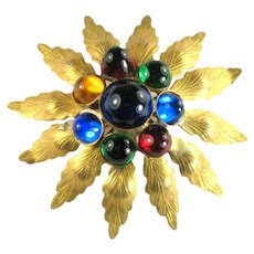 Vintage Colorful Red Blue Green Yellow Domed Cabochon Flower Brooch