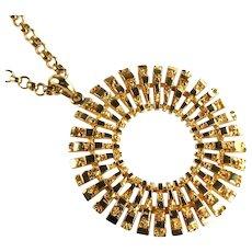 Raquel Goldtone Nugget Circle Pendant Necklace