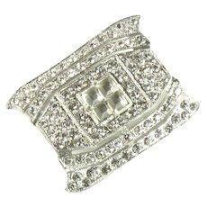 1930's White Metal Crystal Rhinestone Pin