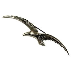Vintage Mexico Silver Soaring Eagle Brooch