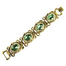 Florenza Green Rhinestone Imitation Pearl Large High End Vintage Bracelet