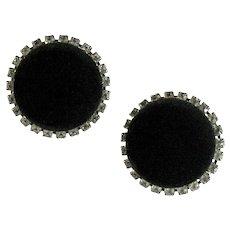 Black Velvet Crystal Rhinestone Huge Vintage Round Earrings