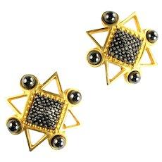Huge Vintage Black Gray Atomic Cosmic Earrings