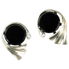 Large Black Disk Fan Crystal Rhinestone Pear Vintage Earrings