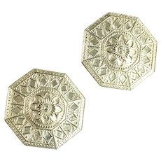 Etched Silvertone Hexagon Flower Vintage Earrings