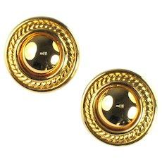 Huge Goldtone Round Circle Vintage Earrings