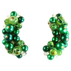 Vintage Shades of Green Bead Earrings