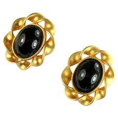 Vintage Black Oval Cabochon Ruffle Huge Earrings