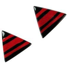 Vintage Black Red Stripe Resin Triangular Large Earrings