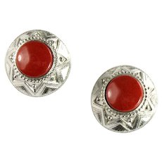 Yamada Tokyo Rust Color Natural Stone Round Earrings