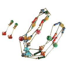 Alice Caviness Red Green Purple Orange Blue Aqua Bead Necklace and Earrings Vintage Set