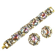 Florenza (Unsigned) Aurora Borealis Rhinestone Bracelet and Earrings Vintage Set