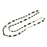 Emerald Green Colored Glass Faceted Stones Long Vintage Fashion Necklace