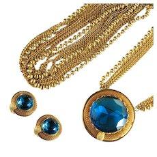 Vintage Capri Blue Huge Rhinestone Goldtone Mesh Convertible Pendant Pin Belt and Earrings