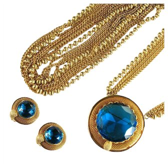 Vintage Capri Blue Huge Rhinestone Goldtone Mesh Convertible Pendant Pin Belt and Earrings