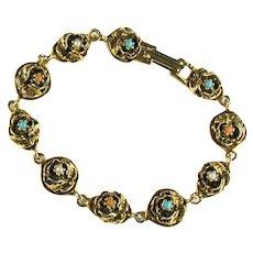 Vintage Goldette Imitation Turquoise Pearl Coral Flower Motif Bracelet