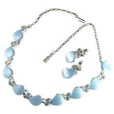 Powder Blue Comma Shapes Vintage Necklace and Earrings