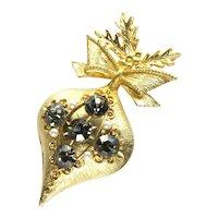 Large Holiday Ornament Rhinestone Brooch