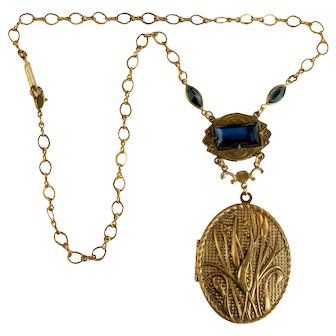 Art Nouveau Style Blue Rhinestone Vintage Locket Pendant Necklace