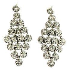 Long Huge Crystal Rhinestone Flower Pendant Vintage Pierced Earrings