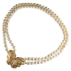 KJL for Avon Kenneth Jay Lane Imitation Cream Pearl Enameled Butterfly Necklace