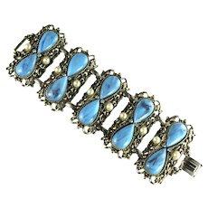 Vintage Marbled Pale Blue Cabochon Rhinestone Imitation Pearl Huge Cuff Bracelet