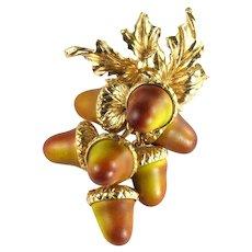 Florenza Vintage Acorns Articulated Dangle Brooch