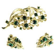 Lisner Green Rhinestone Flowers Vintage Brooch and Earrings Set