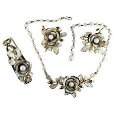 Coro White Enamel Bead Cabochon Vintage Necklace Bracelet Pair of Brooches Set