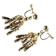 Large Goldtone Chandelier Screwback Earrings