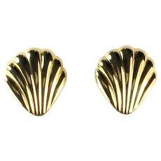 Vintage Goldtone Shell Design Earrings