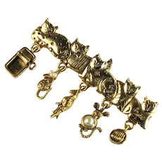 Vintage AJC Cats Dangle Brooch