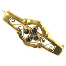 Victorian Style Black Stones Bar Collar Pin