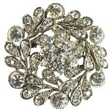 Crystal Rhinestone Chatons Flower and Leaf Design Domed Vintage Brooch Pendant