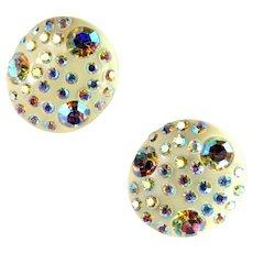 Cream White Curved Oval Aurora Borealis Rhinestone Earrings