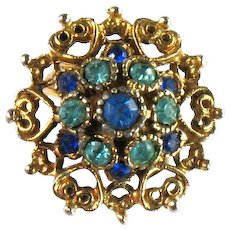 Shades of Blue Rhinestones Cluster Hearts and Scrolls Vintage Ring