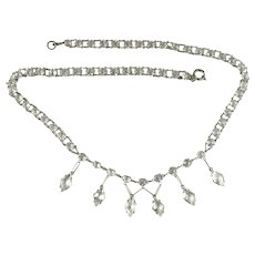 Art Deco Crystal Faceted Stones Necklace