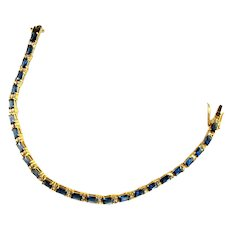 Sapphire Blue Colored Stones Crystal Rhinestone Real Look Tennis Bracelet