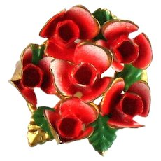 Vintage Enamel Red Rose Cluster Ring