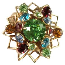 Vintage Shades of Green Blue Aqua Red Topaz Rhinestone Cluster Ring